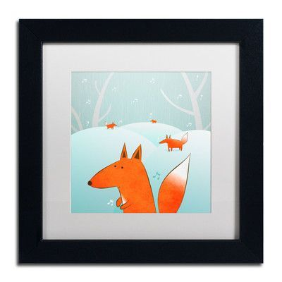 """Trademark Art 'Winter Foxes' by Carla Martell Framed Art Size: 11"""" H x 11"""" W, Matte Color: White"""