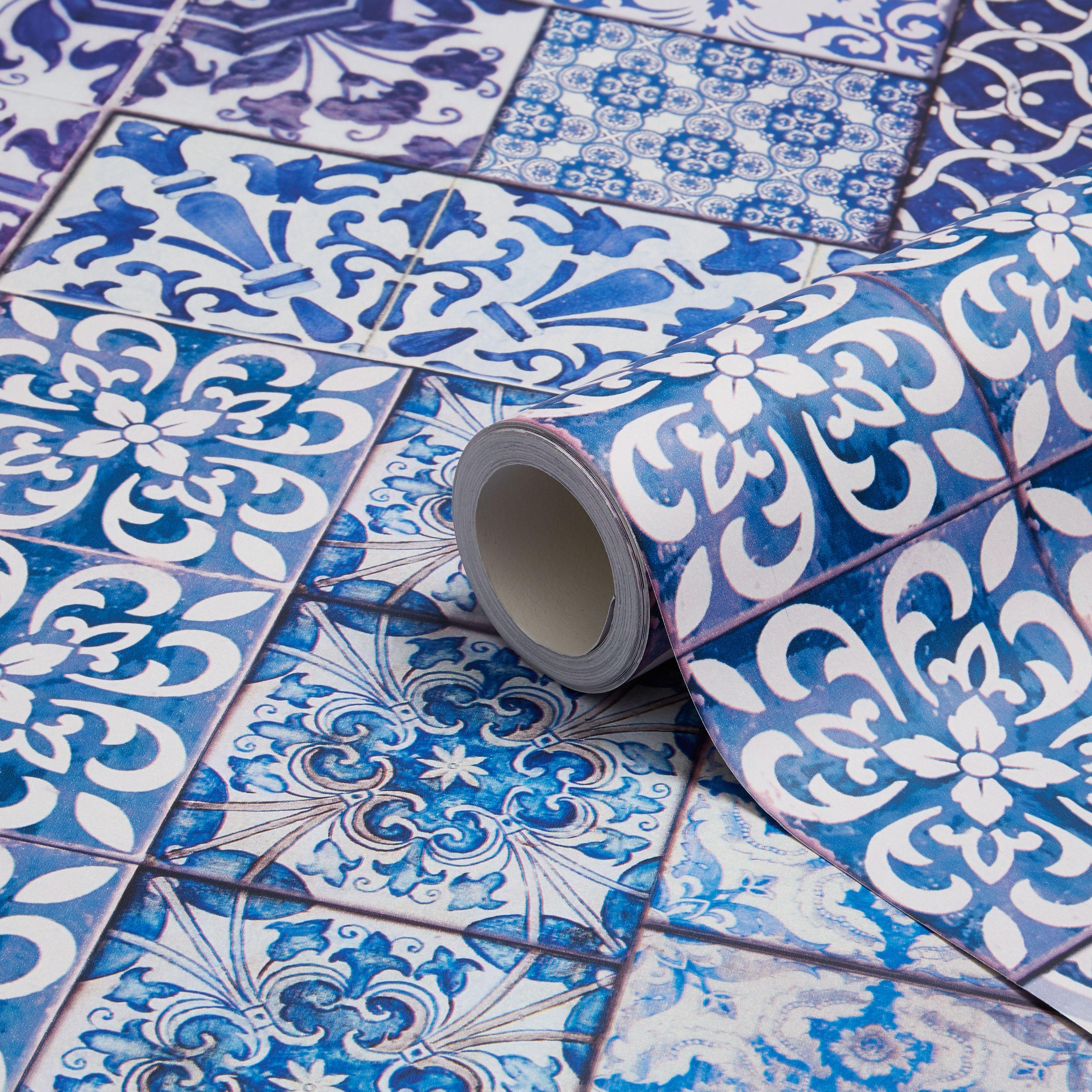 Muriva Blue Moroccan Tiles Wallpaper Departments DIY