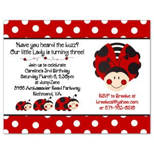 Invite b festive occasions pinterest ladybug lady bugs this custom polka dot ladybug party invitation will be personalized especially for her your choice of wording and printed address stopboris Gallery