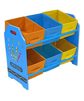 The Bebe Style Crayon Themed Wooden 6 Bin Storage Unit Is