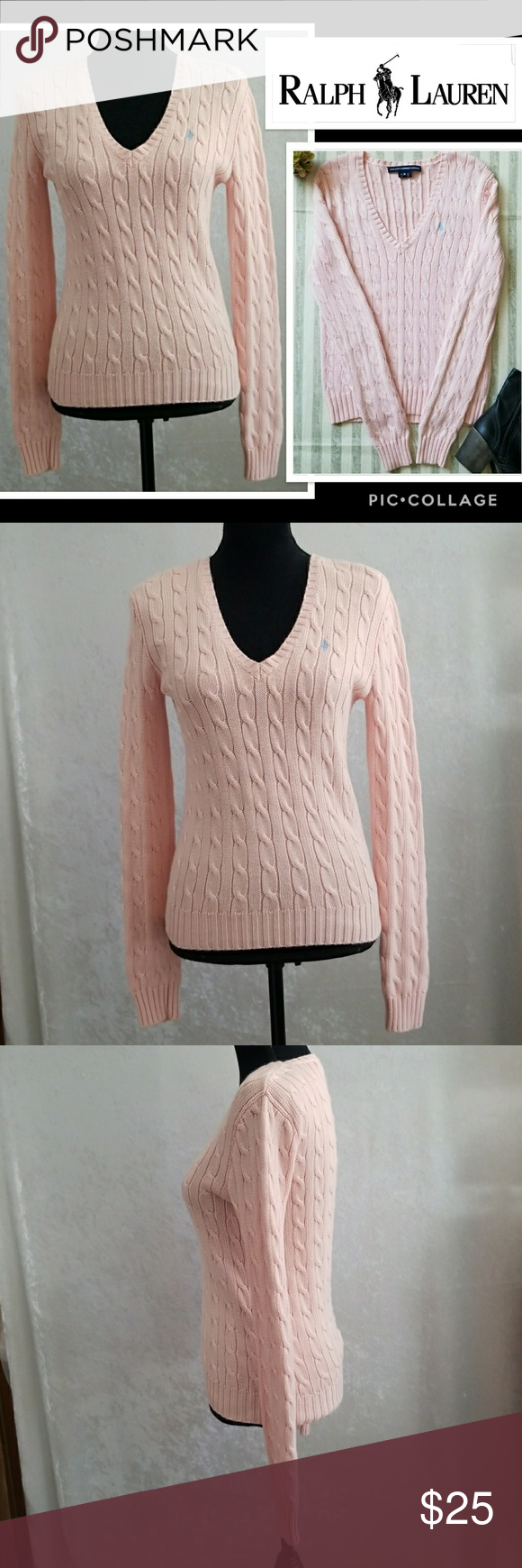Ralph Lauren Light Pink Cable Knit Sweater