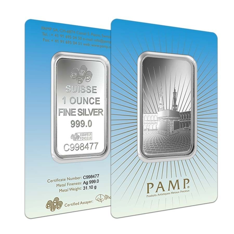 1 Oz Pamp Suisse Silver Bar Ka Bah Mecca In Assay 999 Fine Silver Bars Silver Silver Bullion