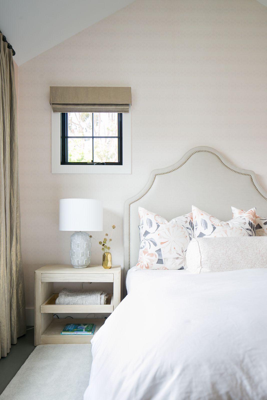 Master bedroom dimensions  Upholstered headboard  white duvet  Brooke Wagner Design
