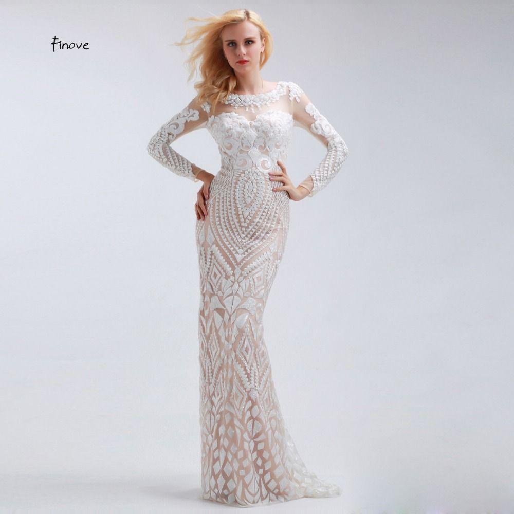 Finove weiß gerade pailletten lange abendkleider mit sleeve scoop neck mit tüll bodenlange formale plus size prom kleider