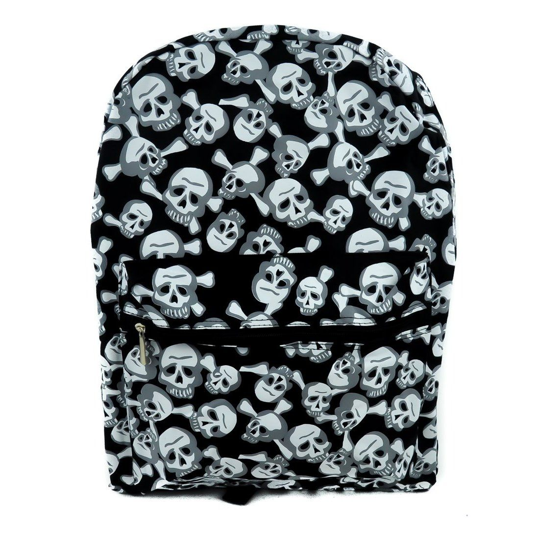 Dysfunctional Doll Black and White Skull w/ Cross Bones Backpack School Bag : Purses & Bags