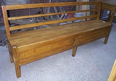 banc coffre en pin sur mesure avec dossier espace de rangement banc pinterest espace. Black Bedroom Furniture Sets. Home Design Ideas