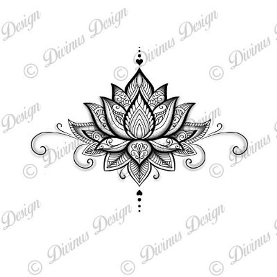 Photo of Lotus Mandala Tattoo Design and Stencil/Template – Instant Digital Download