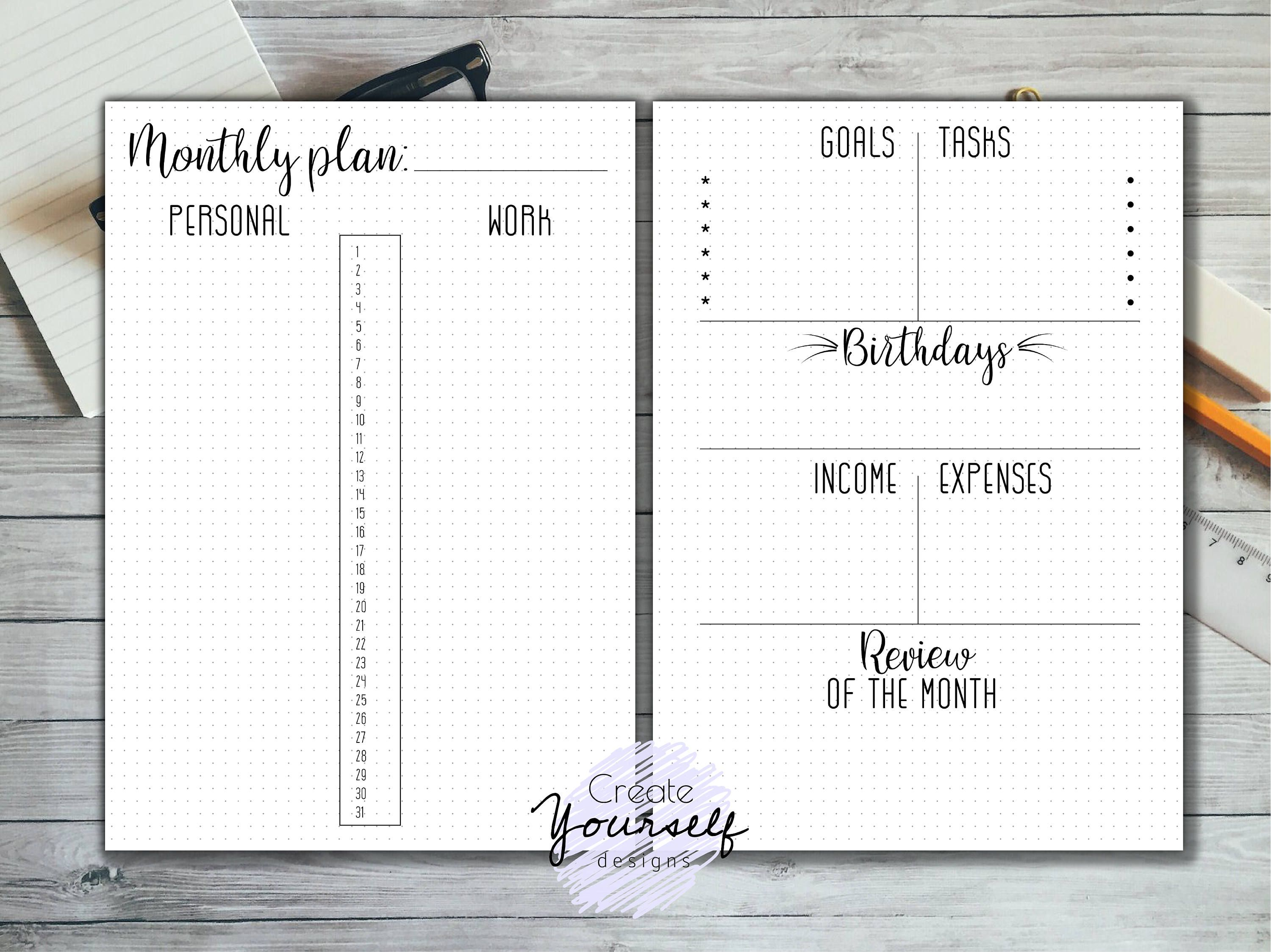 Printable Monthly Bullet Journal Dot Grid Planner Bullet Journal Insert Bujo Printables Monthly Planner Page A4 A5 Us Letter Size Bullet Journal Minimalist Bullet Journal Inserts Bullet Journal Dot Grid