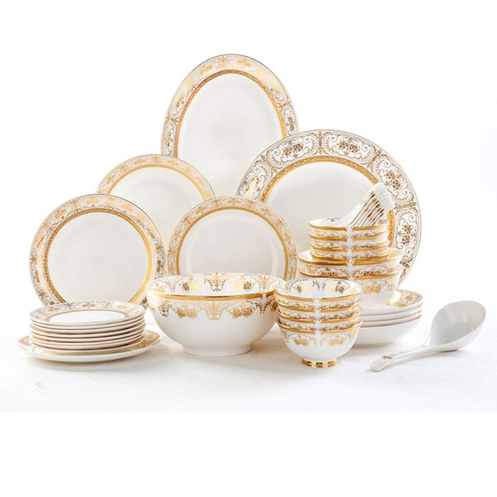 Ylee High Grade Bone China Tableware 38 Pieces Of Gold Embossed Chinese Healthy Dinner Sturdy Dinner Set Anniversary Dinner Sets Sturdy Bone China