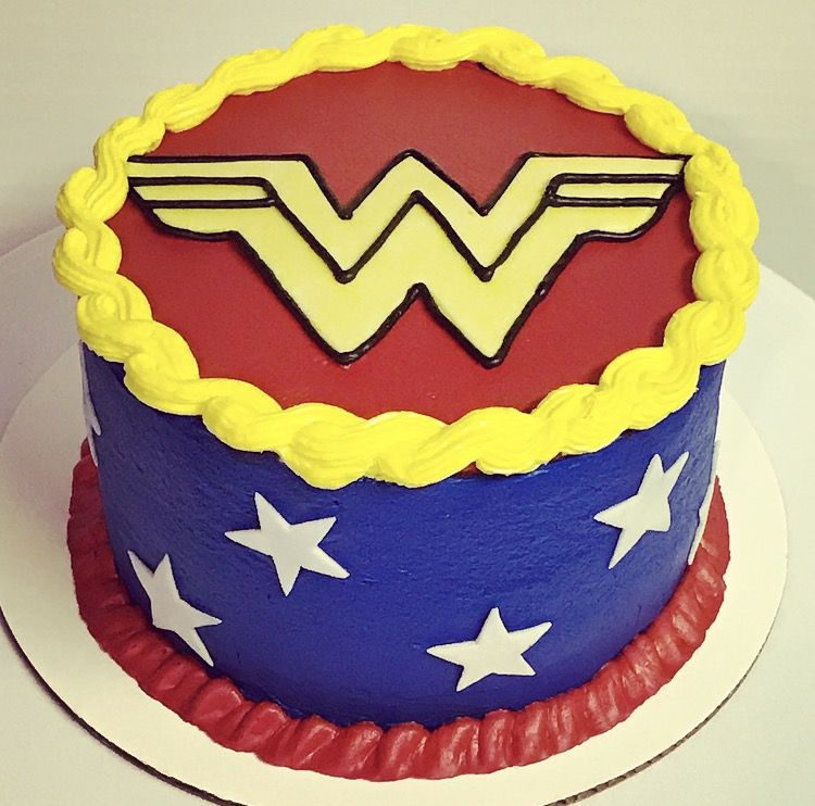 Wonder Woman Birthday Cake Single Round All Buttercream With