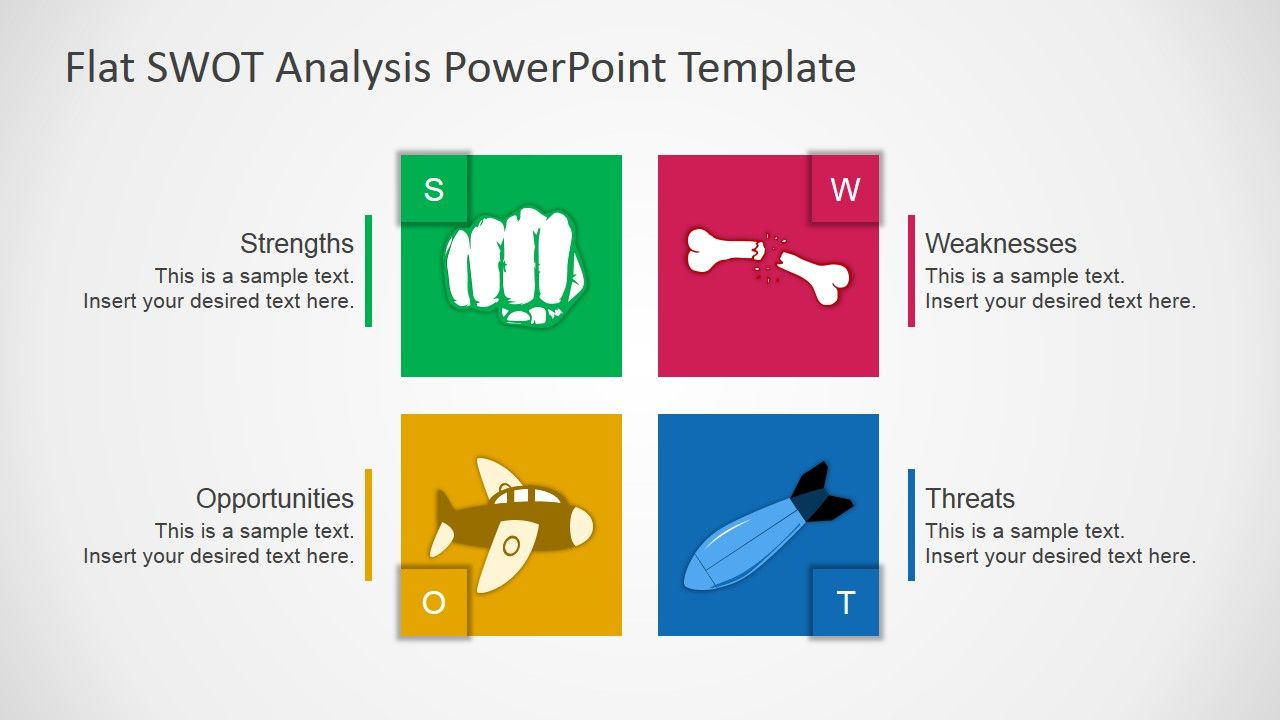 Free Flat Swot Analysis Presentation Template Slidemodel  Projets