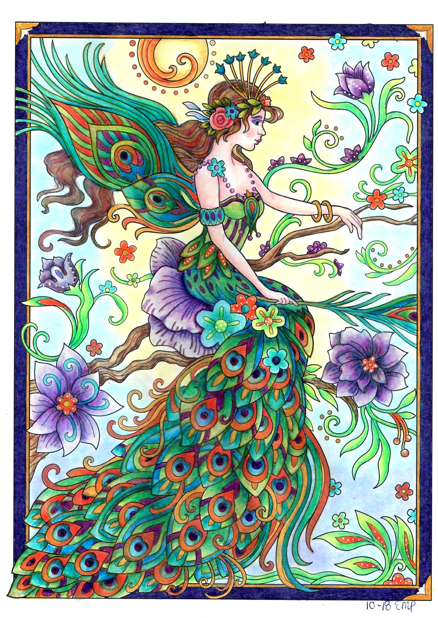 Colored By Erna From Marjorie Sarnat S Magical Fairies Coloring Book Fairy Coloring Book Fairy Coloring Mandala Design Art
