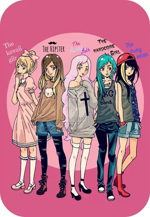 different types of girls goth scene pastel grunge punk emo