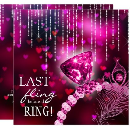 last fling before the ring bachelorette pink ring invitation