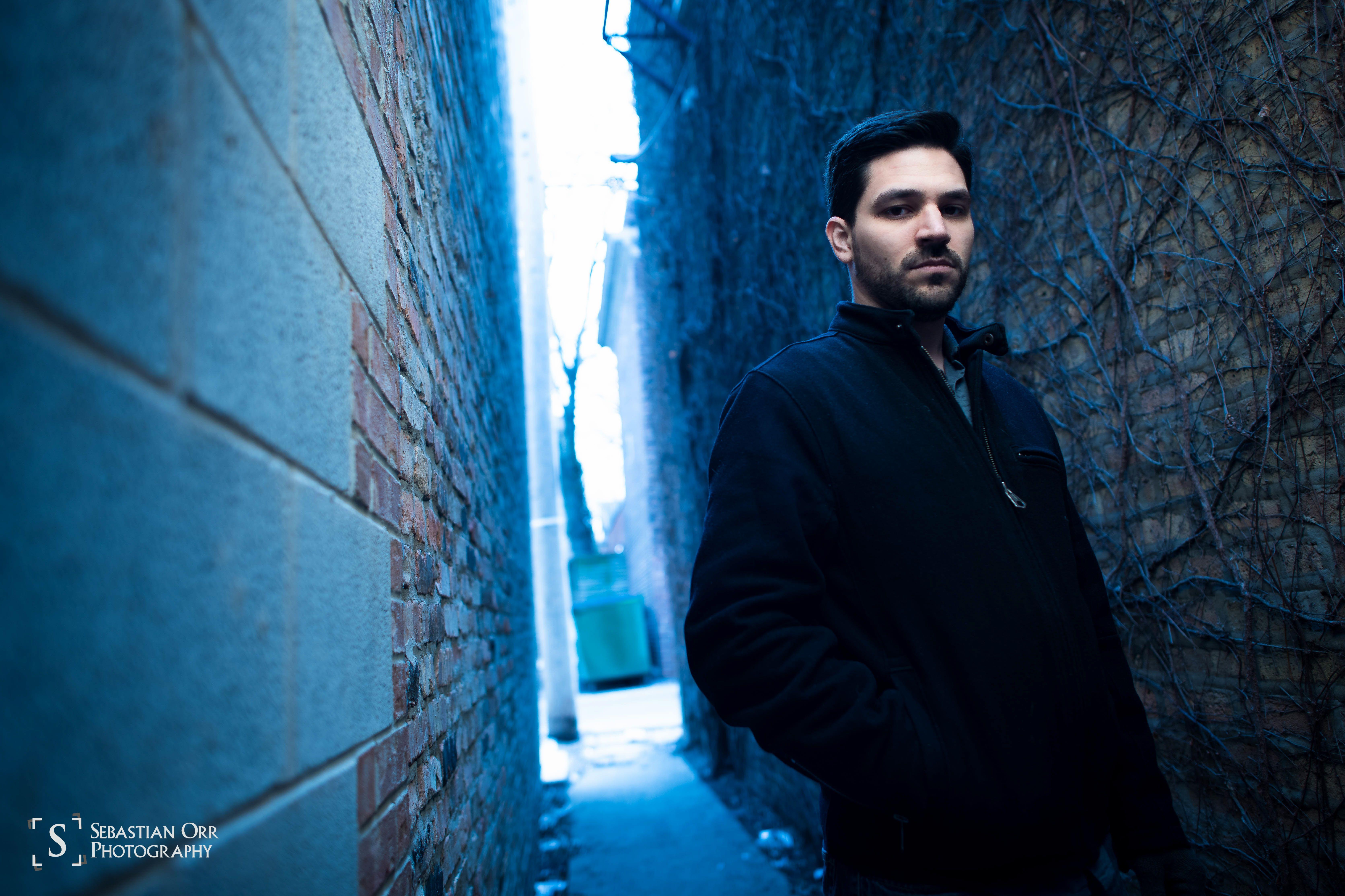 Chicago portrait urban blue tone man in alley