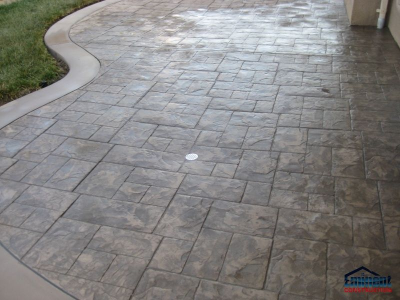 Stamped concrete patio driveway pinterest stamped for Outdoor concrete floor ideas