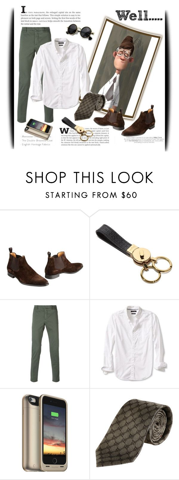 """Well?...."" by maytal-gazit ❤ liked on Polyvore featuring Leonardo Principi, Salvatore Ferragamo, Dondup, Banana Republic, Mophie and Gucci"