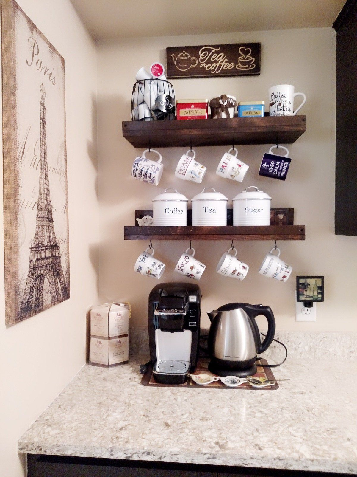 Coffee Mug Shelf with Hooks Hanging Mug Rack Coffee