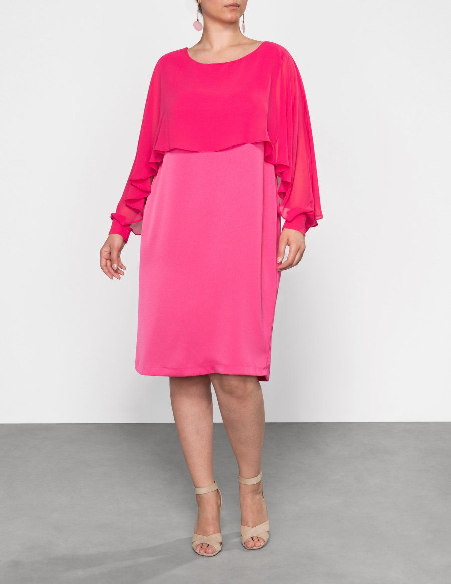 Mat Chiffon overlay dress  in Pink
