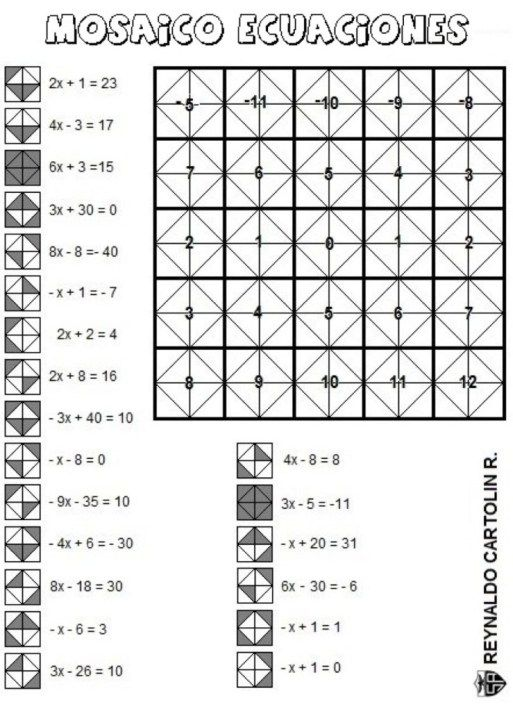 Mosaico - ecuaciones | Teacher: mini tasks | Pinterest | Math ...
