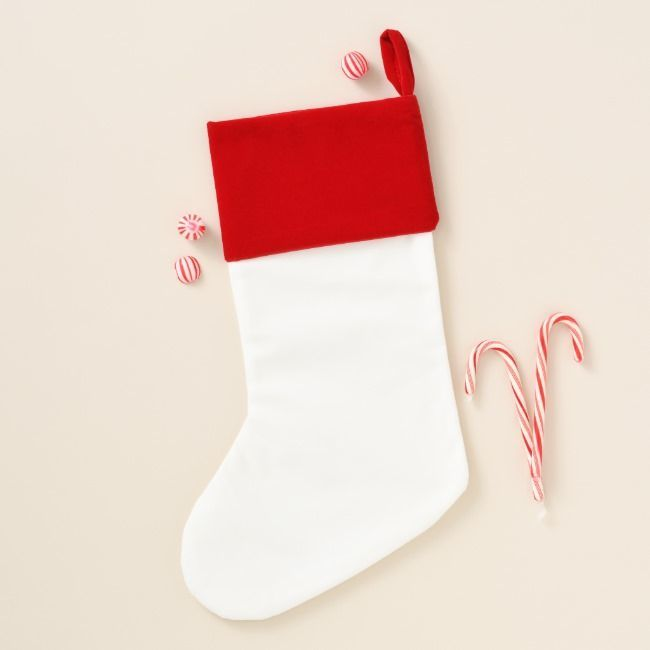 on Red Background Christmas Stocking Pizza on Red Background Christmas Stocking
