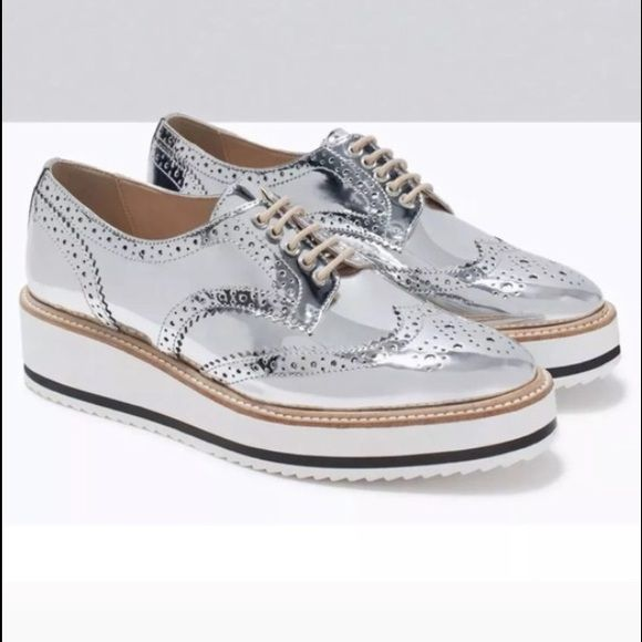 0d0dfccf Silver Metallic Brogue Platform Oxfords Silver foil metallic ...