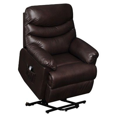 Brilliant Wall Hugger Renu Leather Power Lift Recliner Chair Brown Caraccident5 Cool Chair Designs And Ideas Caraccident5Info