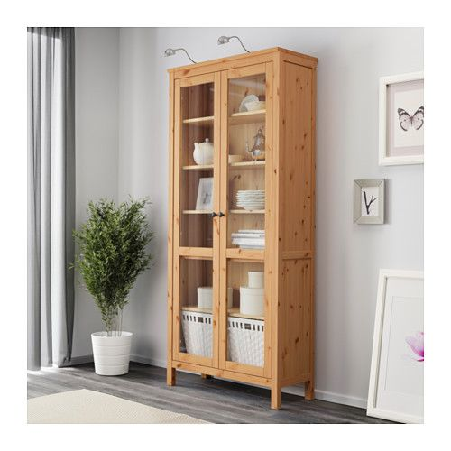 Great IKEA HEMNES Glass door cabinet light brown Solid wood has a natural feel With a glass door cabinet you can show off as well as protect your glassware