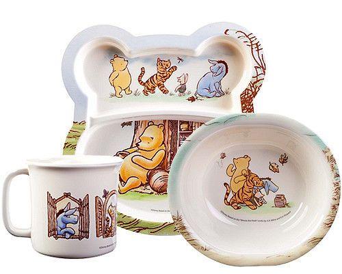 3 PC Classic Winnie The Pooh Melamine Dinnerware Set | eBay  sc 1 st  Pinterest & 3 PC Classic Winnie The Pooh Melamine Dinnerware Set | eBay | dining ...