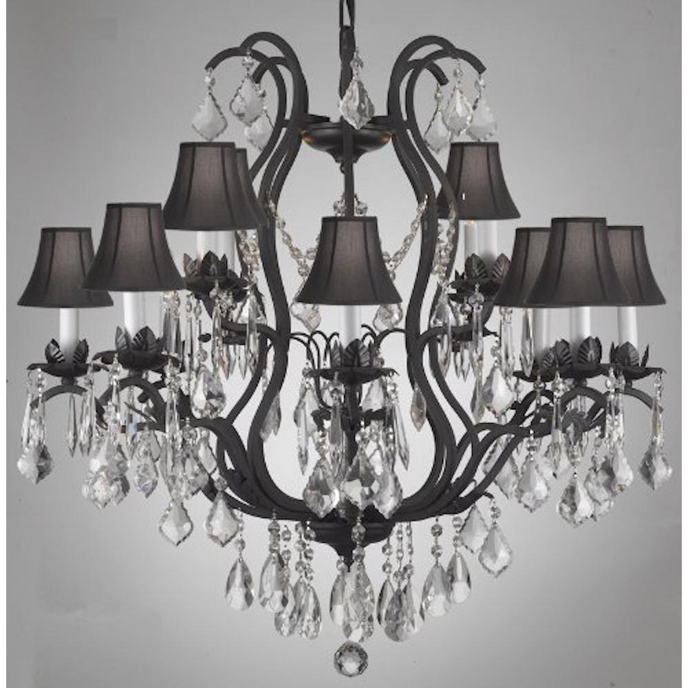 Unbranded Versailles 12 Light Wrought Iron And Crystal Chandelier With Black Shades T40 193 The Home Depot Crystal Chandelier Lighting Traditional Chandelier Wrought Iron Accents