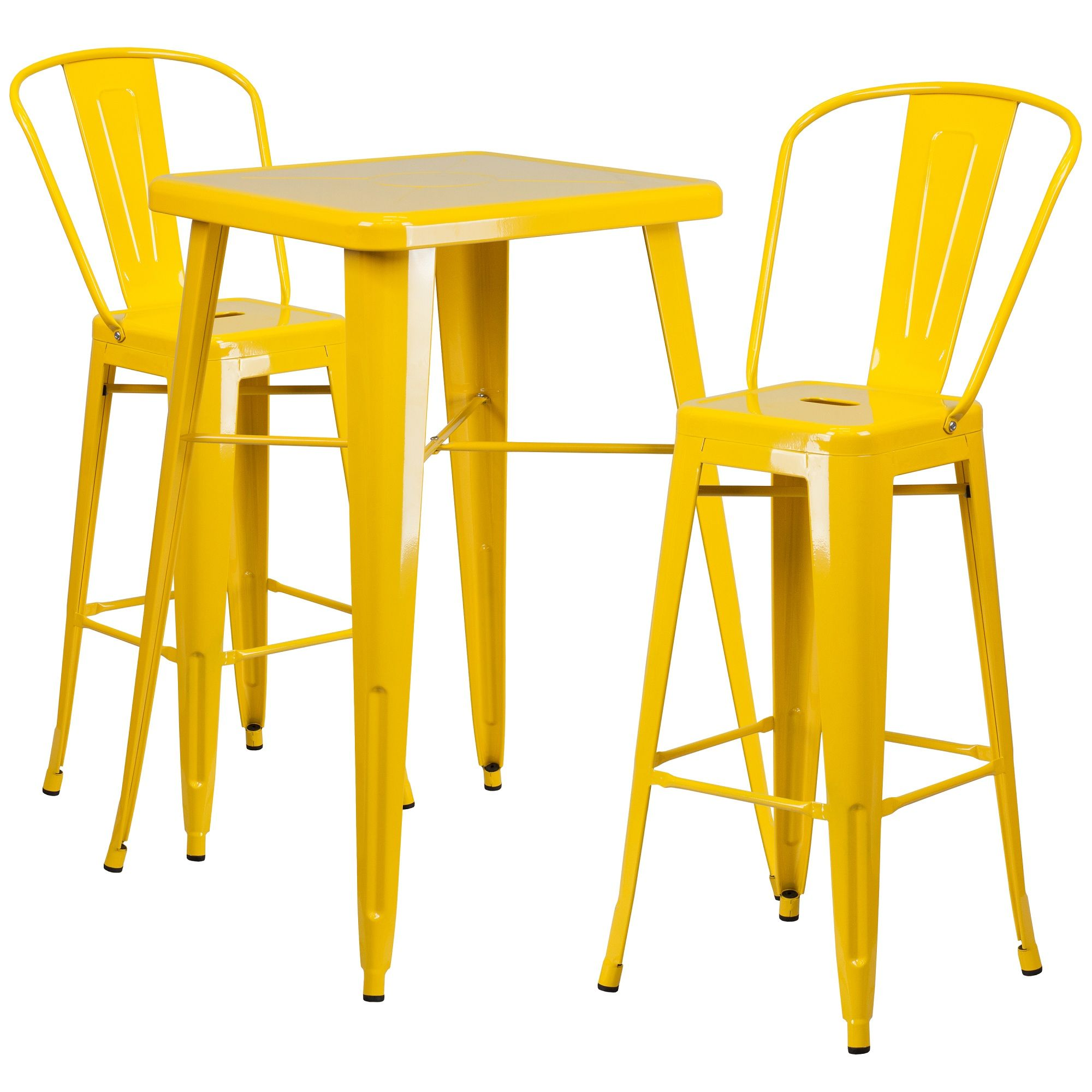 Set Of 3 Yellow Metal Bistro Style Chairs And Bar Height Table