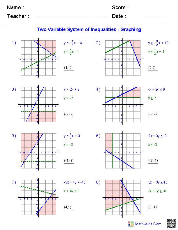 Systems of Equations Worksheets Algebra 2 Worksheets | Math-Aids.Com ...