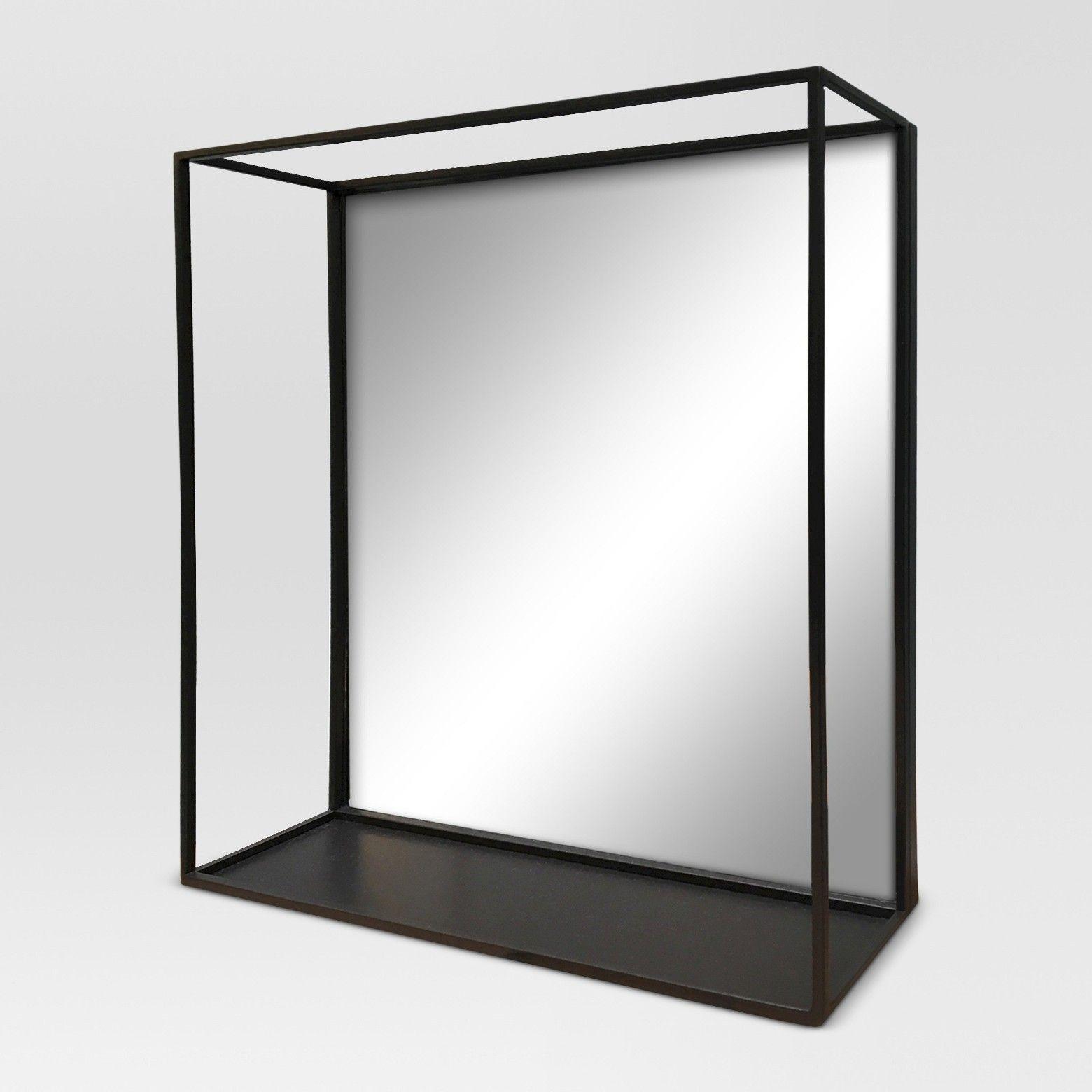project  square metal decorative wall mirror with shelf black. project  square metal decorative wall mirror with shelf black