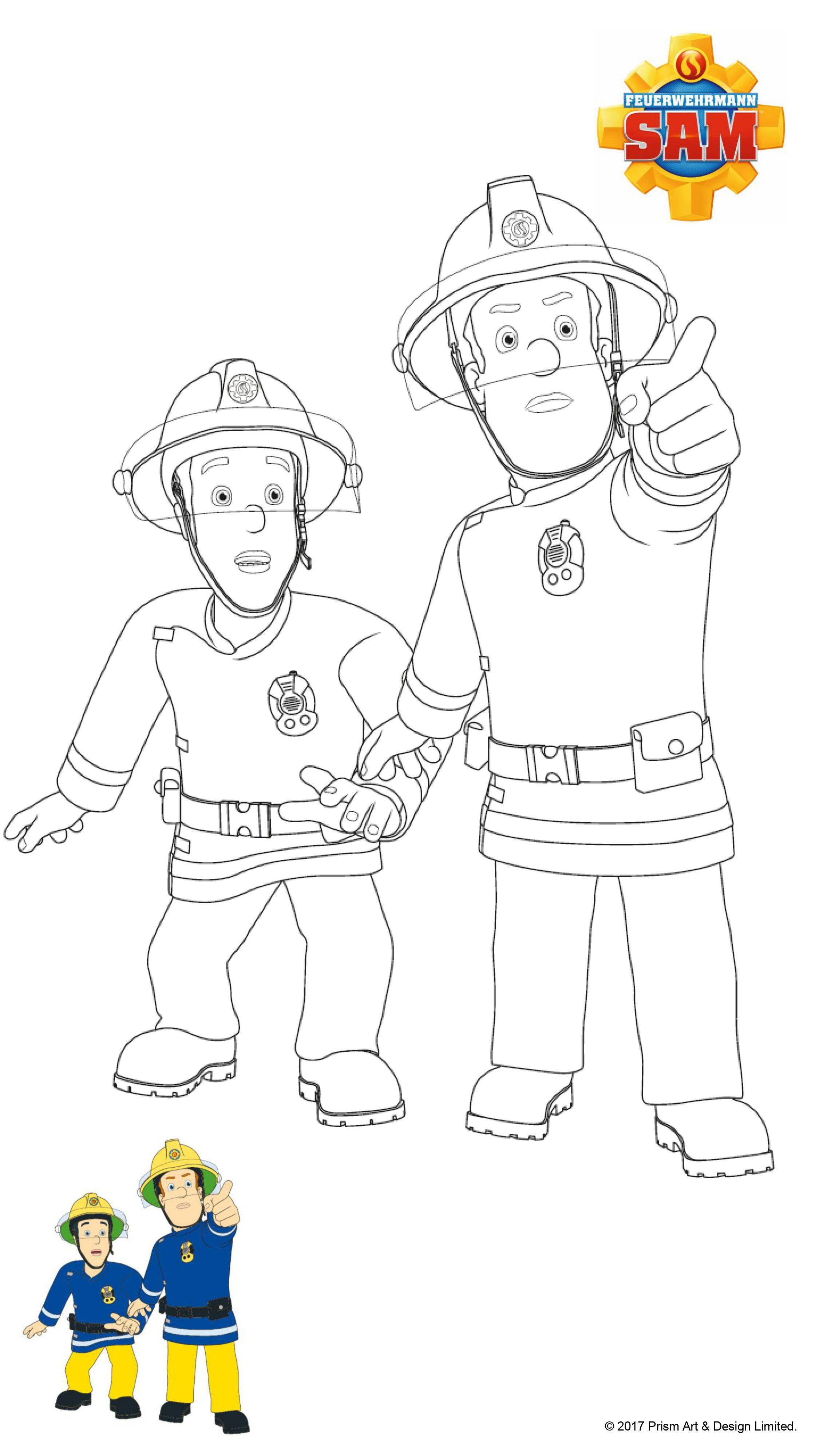 Feuerwehrmann Sam Ausmalbilder - Sam im Einsatz  Ausmalbilder