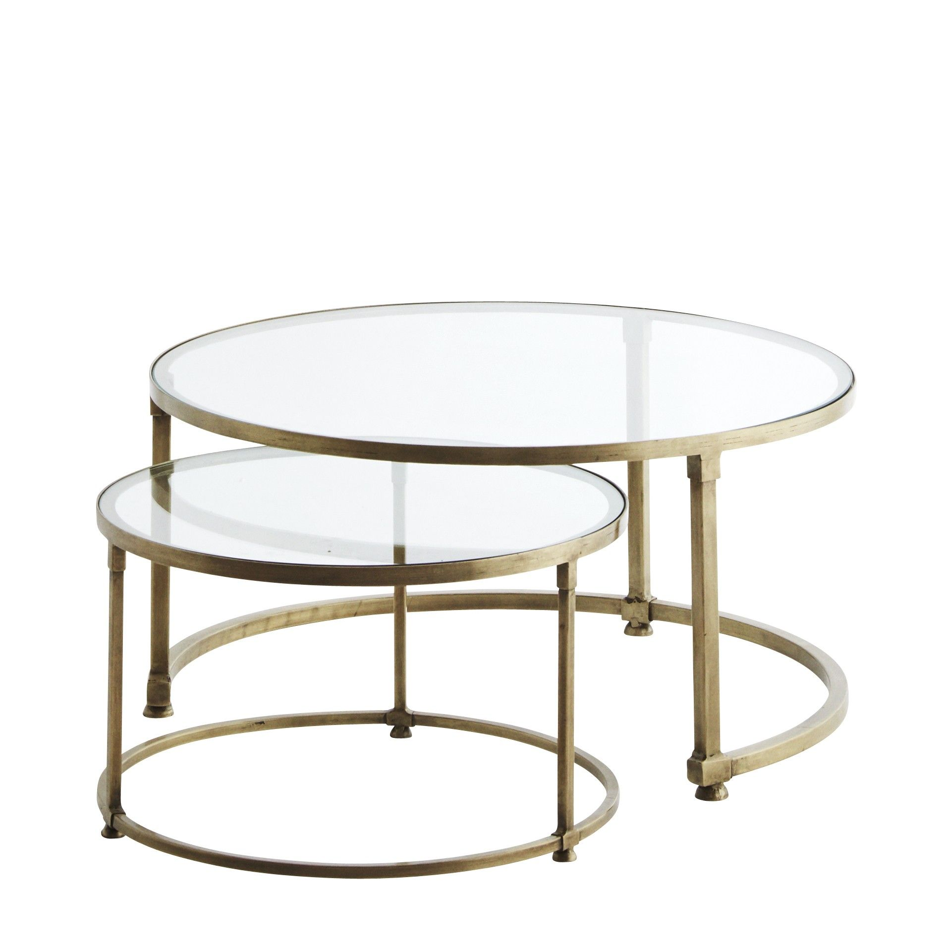 Set of Glass Topped Coffee Table Design Vintage