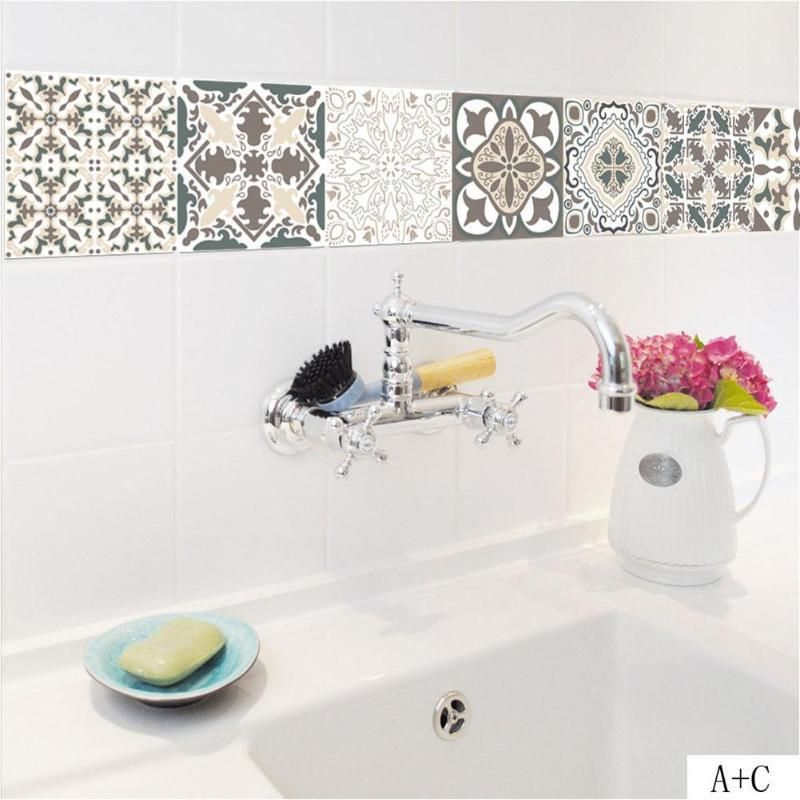 Retro Tiles Wall Stickers For Bathroom Kitchen Tile Stickers Decor Adhesive Waterproof Pvc Wall Stickers Retro Tiles Wall Stickers Tiles Bathroom Wall Stickers
