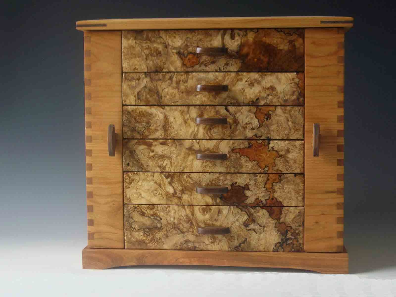 Handmade standing jewelry box made of cherry wood and burl; with two side doors and & Handmade standing jewelry box made of cherry wood and burl; with ... pezcame.com