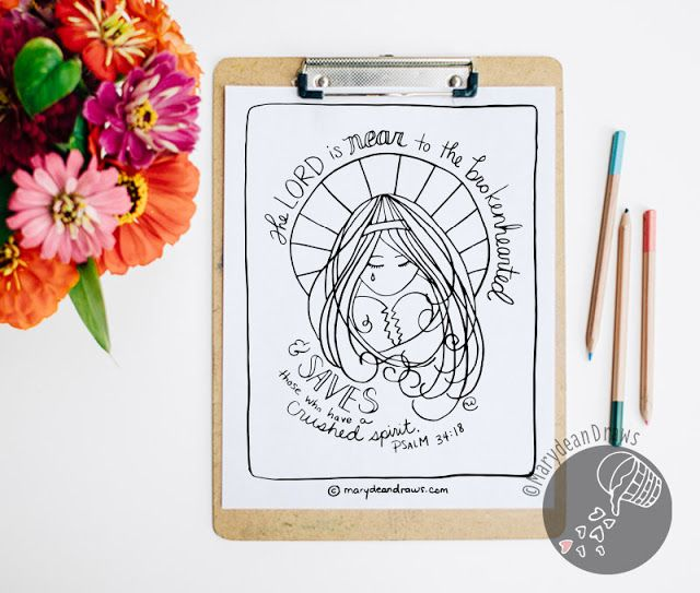 Psalm The Lord Is Near To Brokenhearted Printable Bible Verse Coloring Page