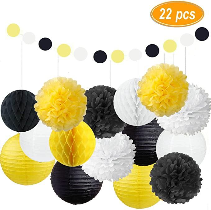 Amazon Com Fascola Pack Of 22 Party Decoration Kit White Yellow Black Tissue Paper Pom Poms Flowers Papers Decoration Kit Tissue Paper Pom Poms Paper Pom Poms