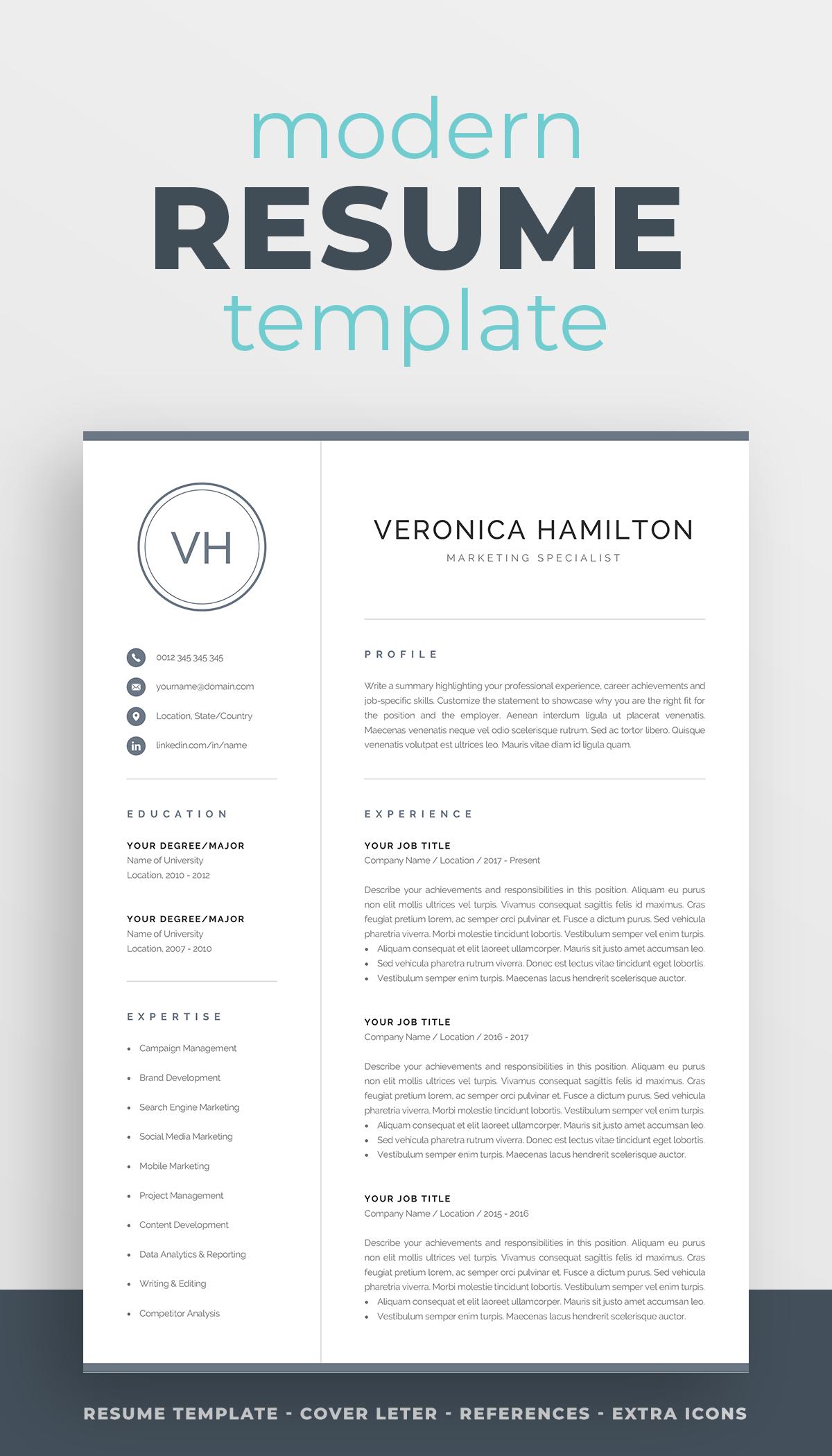 Resume Template With Monogram 1 2 Page Resume Modern Etsy In 2021 Resume Template Resume Template Professional Job Resume Template