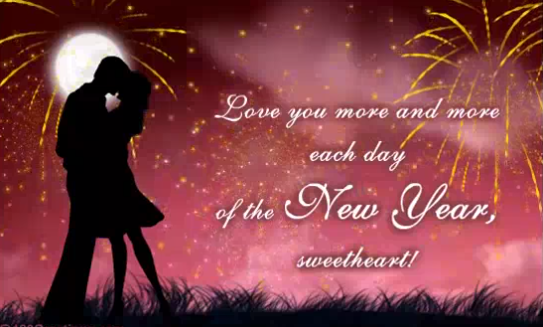kiss you new year greeting card for girlfriend