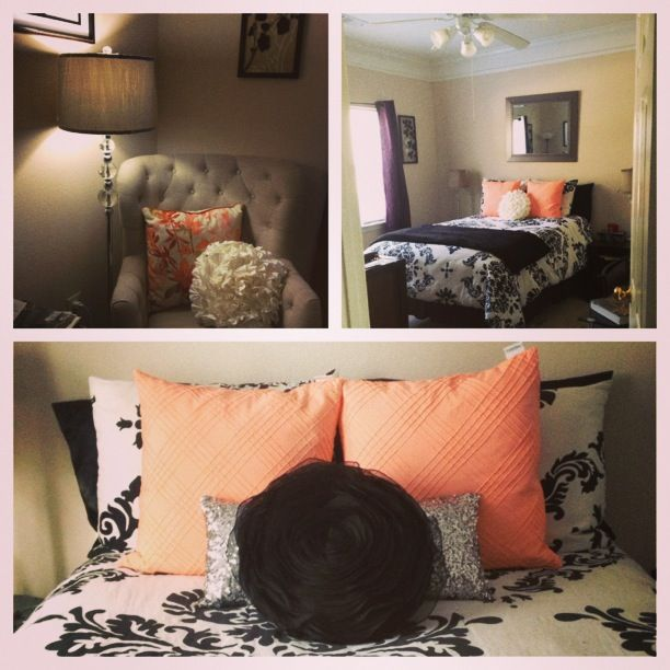 Peach Black White Pewter Bedroom Decor