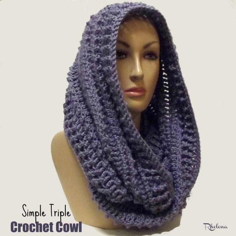 Simple Triple Crochet Cowl | Crochet Scarves, Shawls and ...