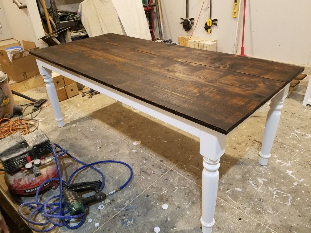 Farmhouse Table With Linen Base And Dark Walnut Stained Top