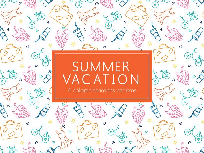 Summer Vacation Free Pattern Free Icon Set Free Vector Illustration Free Vector Patterns