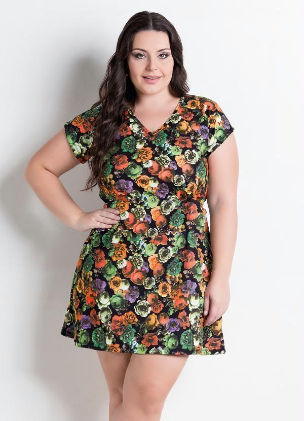 d4ad2d66c Vestido Decote V Floral Plus Size - Posthaus | Femmes Chics | Plus ...