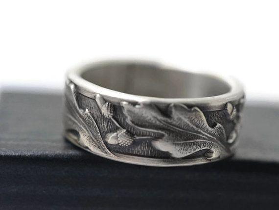 Druid Wedding Band Men S Silver Oak Leaf Acorn Ring Oxidized