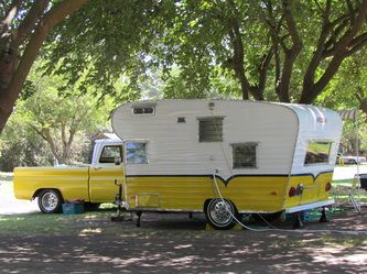 Vintage Camper Trailers - Gotta love the matching paint on the truck!