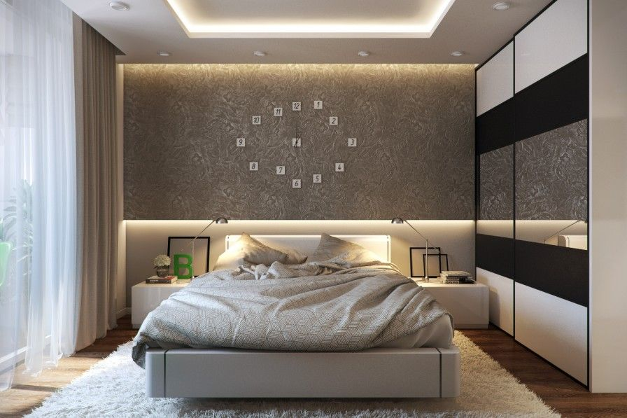 Bedroom, Modern Bedroom Decor White Curtains Large Modern Wardrobes Large  Clock On The Brown Wall