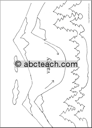 Of 1 coloring page landforms valley science for Landforms coloring pages